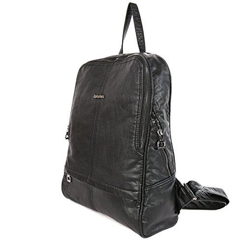 21KBARCELONA Cuoio lavato di alta qualità zaino borsa XS160423 Nero