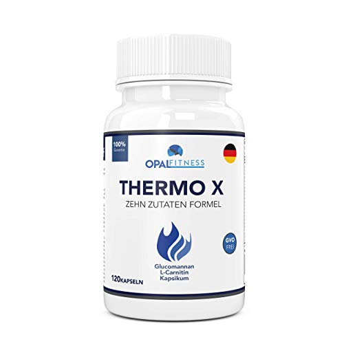 Thermo X by Opal Fitness | Glucomannan (Konjac Fasern), L-Carnitin, L-Tyrosin, grüne Kaffeebohnen, Afrikanische Mango, Chrom | 120 Kapseln -