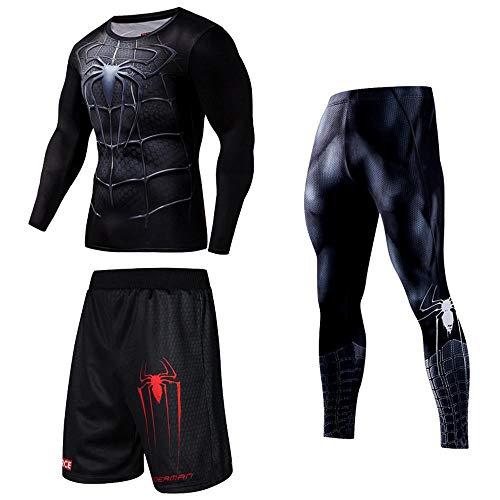 bestkm 3 Stücke Mens Gym Fitness Kleidung Set Spiderman Superman Gedruckt Männer Schnell Trocknend Laufen Training Sport Fitness Langarm Set B-S(165-173CM)