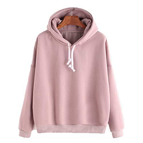 Women Casual Solid Color Hoodies Damen Winter Herbst Warm Sweatshirt Langarm-lose Oberseiten-Jumper,Rosa,L -