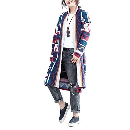 VENIMASE 2017 Frauen Nationalen Retro Stil Strickjacke Plus Größe Langen Mantel (Bekleidung Chinesische)