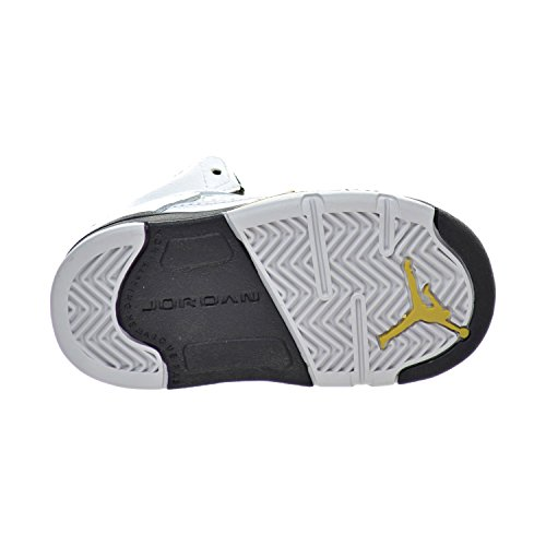 Nike Jordan 5 Retro Bt, Sneakers basses mixte bébé Blanco (White / Black-Mtlc Gold Coin)