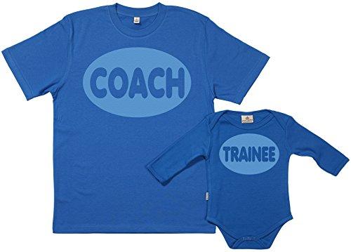 SR - Exklusive Geschenkbox - Coach & Trainee 100% Biobaumwolle - Vater T-Shirt & Baby Body in Geschenkbox - S, 6-12 Monate - Blau