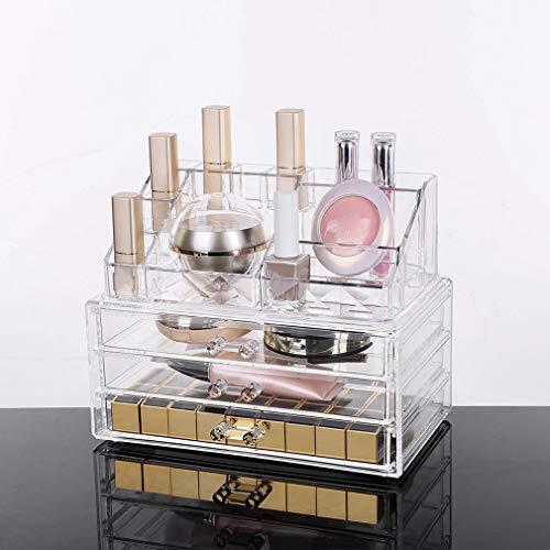 Display4top cosmetico dell' organizzatore di immagazzinaggio 4 cassetti in Impermeabile Crystal, Make Up dell' organizzatore di immagazzinaggio Cosmetici per Bagno Desktop Student Heim