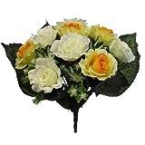 FS Kunstseide offener Rosenstrauß mit 12 großen 7,6 cm Blütenköpfen – Hochzeit Grab Orange Yellow & Ivory