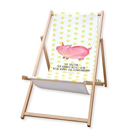 Mr. & Mrs. Panda Liegestuhl, Liege, Gartenliege Einhorn Schweinhorn mit Spruch - Farbe Weiß