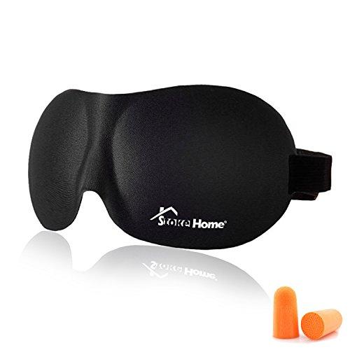 Schlafmaske Herren Damen Kinder Stoke Home, Cache Augen für Schlafen aus Schaumstoff, Schlafmaske 3D Schwarz Bandeau-, Nacht verstellbar mit Tasche und Ohrstöpsel für Reise (Japanische Wolf Maske)