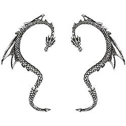 Par de Alchemy Gothic el Dragon's peltre cebo de Juego de pendientes de puños