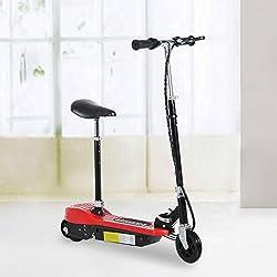 Patinete Eléctrico Plegable E-Scooter Batería 120W Manillar Asiento Ajustable Freno Pie de Apoyo 2 Colores para Adolescentes(Rojo)