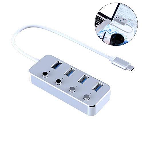 Preisvergleich Produktbild 4 Ports HUB USB 3.0 - Super Speed Adapter bis 5 Gbit / s mit Aluminiumlegierungskabel-Schalter Unabhängiger Schalter Gift Office.