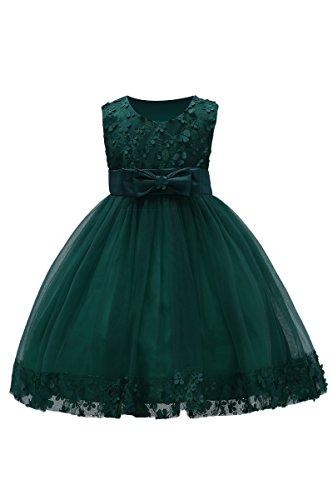 Süße Grün Kleid Kinder (YMING Mädchen Sommer Kleid Festlich Blumenmädchenkleider 3D Blumen Schleife Festzug Party Kleid,Dunkel Grün,2-3 Jahre Alt)