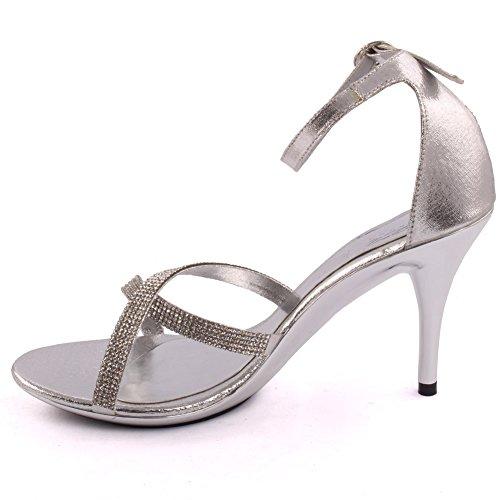 Unze Le nuove donne Ladies 'lotteria' Diamante ha abbellito Crossover Media Alta tallone del partito di formato di promenade nuziale Giorno cinturino alla caviglia Sera sandali UK 3-8 Argento