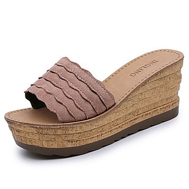 zhENfu donna pantofole & amp; flip-flops sandali Comfort Suede Estate Casual Walking Split Cuneo Comune di tacco Beige nero arrossendo rosa 3A-3 3/4in Black