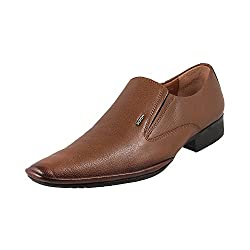 Mochi Men Tan Leather Flat Shoes
