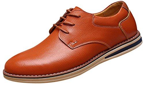 EOZY Chaussure De Ville à Lacet Homme Cuir Pu Oxford Derby Richelieu Style Anglais Bureau Brun