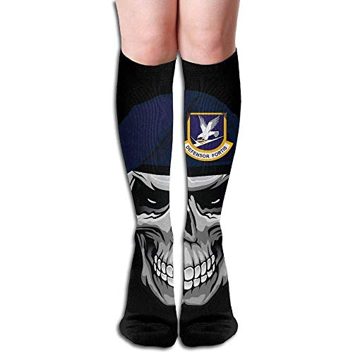 Sweet grape Air Force Security Forces Skull Women's Fashion Knee High Socks Casual Socks