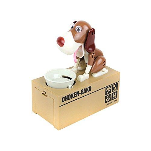 LOBZON Elektronische Spardose Verrückter Hund Schwarz Weiß 18 cm Groß - Sparschwein Geschenk für Kind Geld Münze Fun Lustig Wackelt Box