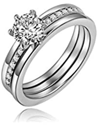 """OOMPH Jewellery Silver Crystal Solitaire Love Engagement Ring Set For Women""""Lasting Love Collection"""""""