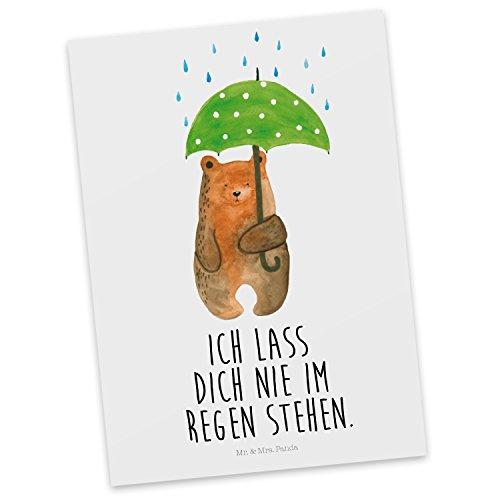Mr. & Mrs. Panda Karte, Ansichtskarte, Postkarte Bär mit Regenschirm mit Spruch - Farbe Weiß