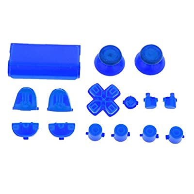 MagiDeal Replacement Luminous Joystick Thumbstick D-pad Trigger Anolog Button Mod Set Kit Cap Bullet for Sony PS4 Playstation Controller Night Blue from MagiDeal