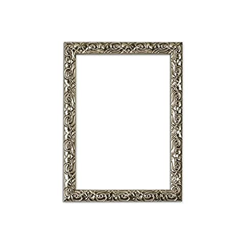 Silver – A2 Ready to hang Antique Cushion Ornate Swept Picture/Poster/Photo frame with High Clarity Styrene Shatterproof Perspex Sheet & MDF backing board