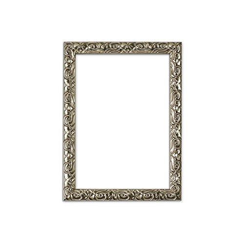 Bilderrahmen in Silber - A3 - Antik-Look mit Verzierungen / Posterrahmen / Fotorahmen aus bruchsicheren Plexiglas aus Styrol für hohe Klarheit & Rückwand aus MDF