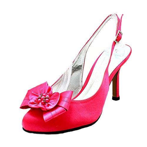 Satin talon haut talon rond chaussures de soirée avec fleur perlée pink