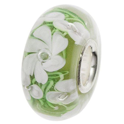 Rosa Grün Blume Rose Blossom rund Glas Perle für europäische Charm Armband ()