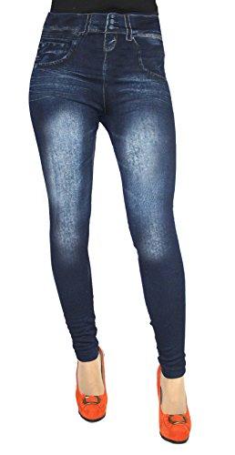 Leggings in Jeans Baumwolle Loock Optik Super Stretch Weich Betonte, Blau, S/M / 36/38