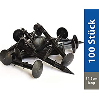 100 x Plastico Negro Para Suelo- piquetas para el suelo extra fuertes – Púas para una cosecha segura – Refuerzo para lonas contra las malas hierbas – Plástico negro