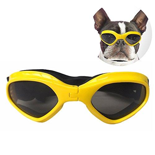 DUBENS Fashion Hundebrille Sonnenbrille wasserdichten Schutz Sun-Brille, UV-Schutz Eyewear Goggles Schutzbrille, Einstellbar Brillen Haustier, Geeignet für mittlere und kleine Hunde (Gelb) -