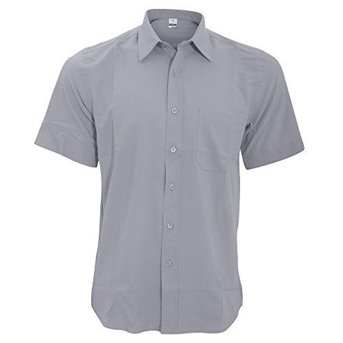 Henbury Herren Hemd, kurzärmlig Schiefergrau