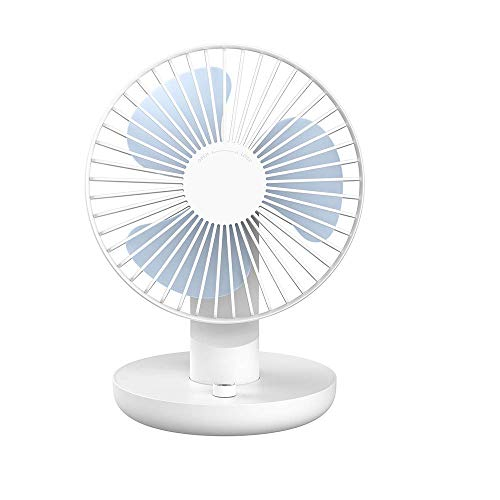 YUJJ Mini Tischventilator Mini USB Ventilator USB Wiederaufladbare 120 Grad Rotationfür Reise Home Office (170 * 136 * 221 Mm),White -