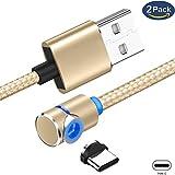 Superior ZRL Typ C magnetisch 90 ° Ellenbogen Geflochtene Runde magnetisches Ladekabel USB-C ladeschnur für Samsung Galaxy S8 Plus S9 Note 9 Google Pixel/Pixel XL,LG V30 G7 (Nicht für Data Sync)