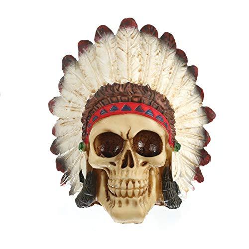FIZZENN Harz Handwerk Indianer Adler Schädel Statue Tribal Warrior Gothic Schädel mit Kopfschmuck Figur Friedhof Beinhaus Spooky Decor
