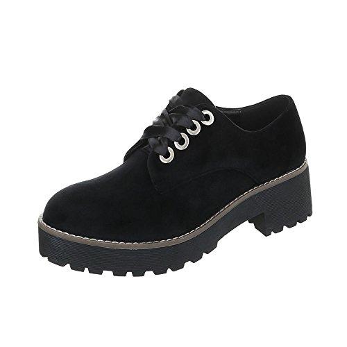 Zapatos para mujer Mocasines Tacón ancho Zapatos con cordones Negro Tamaño 38