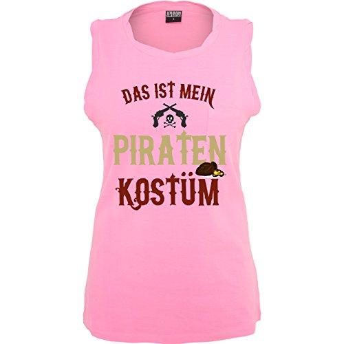 Karneval & Fasching - Das ist mein Piraten Kostüm - ärmelloses Damen T-Shirt mit Brusttasche Neon Pink