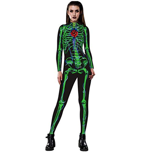 Kostüm Juvia Cosplay - Auiyut Skelett Overall Damen Halloween Kostüm Unheimlich Rose Skeleton Movement Breathable Bodycon Party Cosplay Bodysuit Jumpsuit Karneval Fasching
