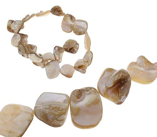 Perlmutt Perlen Muscheln Nugets Chips Formlos ca. 20mm Perlmuttperlen 1 Strang 18stk (Krem)