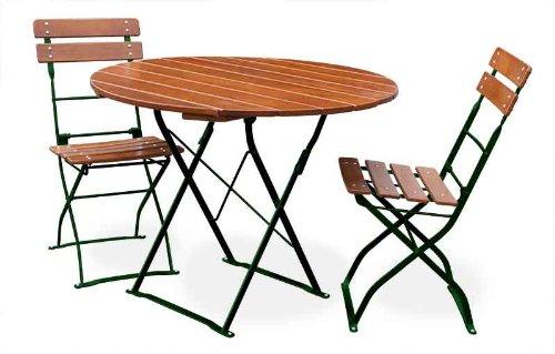 EuroLiving Bière de jardin 1 x table Ø90 cm & 2 X Chaise Edition de Classic Ocre/Vert