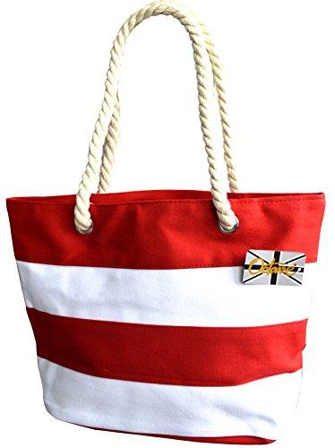 Octave , Borsa da spiaggia  Donna Striped Design - Red & White