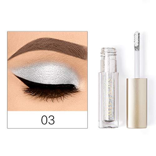 Mally Beauty Auge (Hukz Metallic Shiny Smoky Eyes Lidschatten Wasserdichter Glitzer Eyeliner,Flüssiger Lidschatten, hochglänzender, glänzender Diamantperlmuttschatten (C))