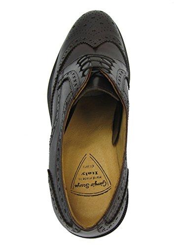 GIORGIO SCARPE 1395 Derby Budapester Leder Schuh Ledersohle Handgenäht Made in Italy schwarz/dunkel braun T.Moro