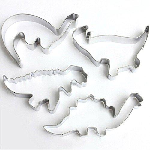 Ören Ausstechformen Dinosaurier 4er Set aus Edelstahl Dino Keksausstecher Ausstecher Plätzchen Dinosaurier