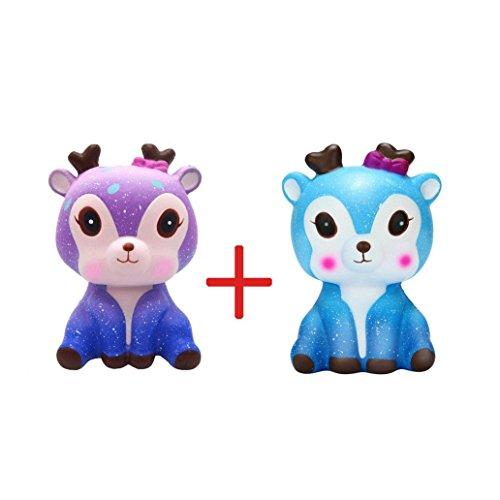 Squishys Squishies Malloom 11cm Galaxy Deer Creme duftenden Squishy langsam steigenden Squeeze Strap Kinder Spielzeug Geschenk (Farbe G)