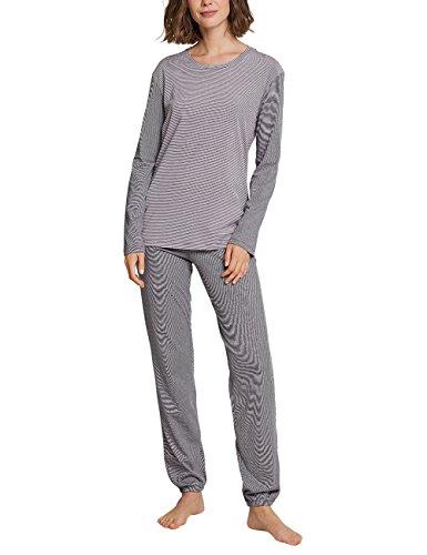 Schiesser Damen Anzug lang 161069 Zweiteiliger Schlafanzug, Grau (Graphit 207), 40
