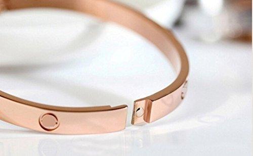 Armband Schmuck Armreif mit Schrauben Relief, vergoldet rosa - 3