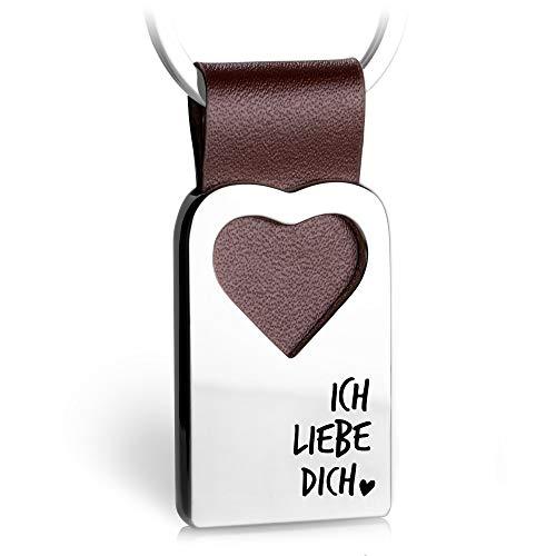 Herz Schlüsselanhänger mit Gravur aus Leder - Partner Glücksbringer Anhänger für Ihren Lieblingsmensch - Ich liebe dich - FABACH® (Schlüssel Anhänger Herz)