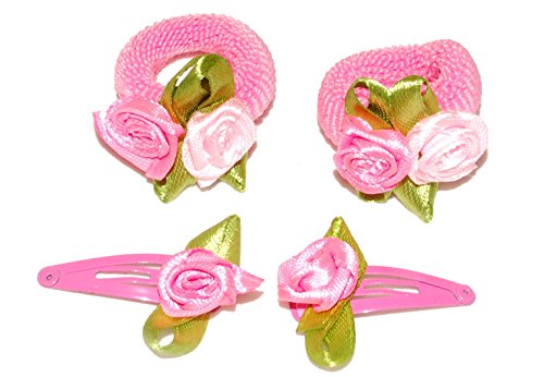 Set de pinces à cheveux et élastique avec rose