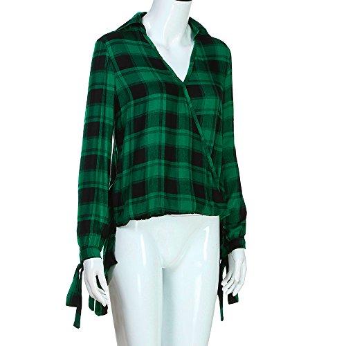Maglietta donna ,Kword Donne Maniche Lunghe Plaid Stampa Felpa Benda Pullover Tops Camicetta Maglietta Verde